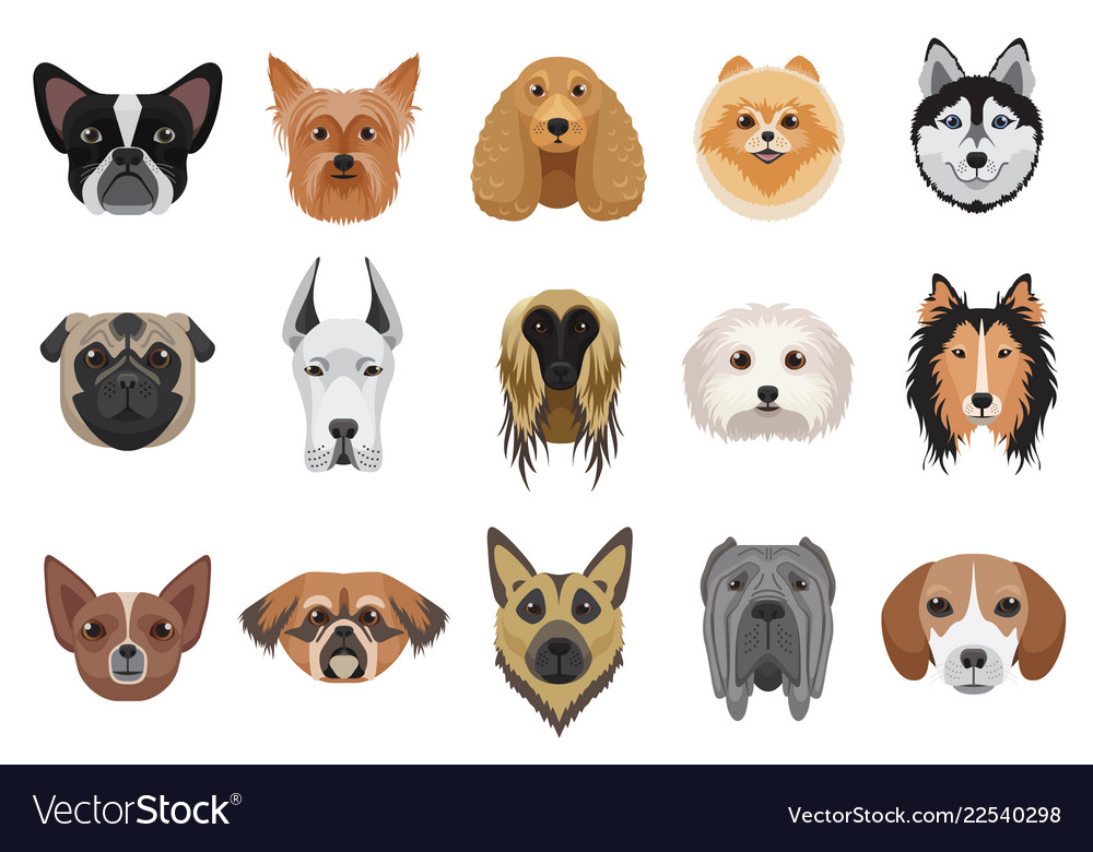 Dogs cartoon heads face emoticons set