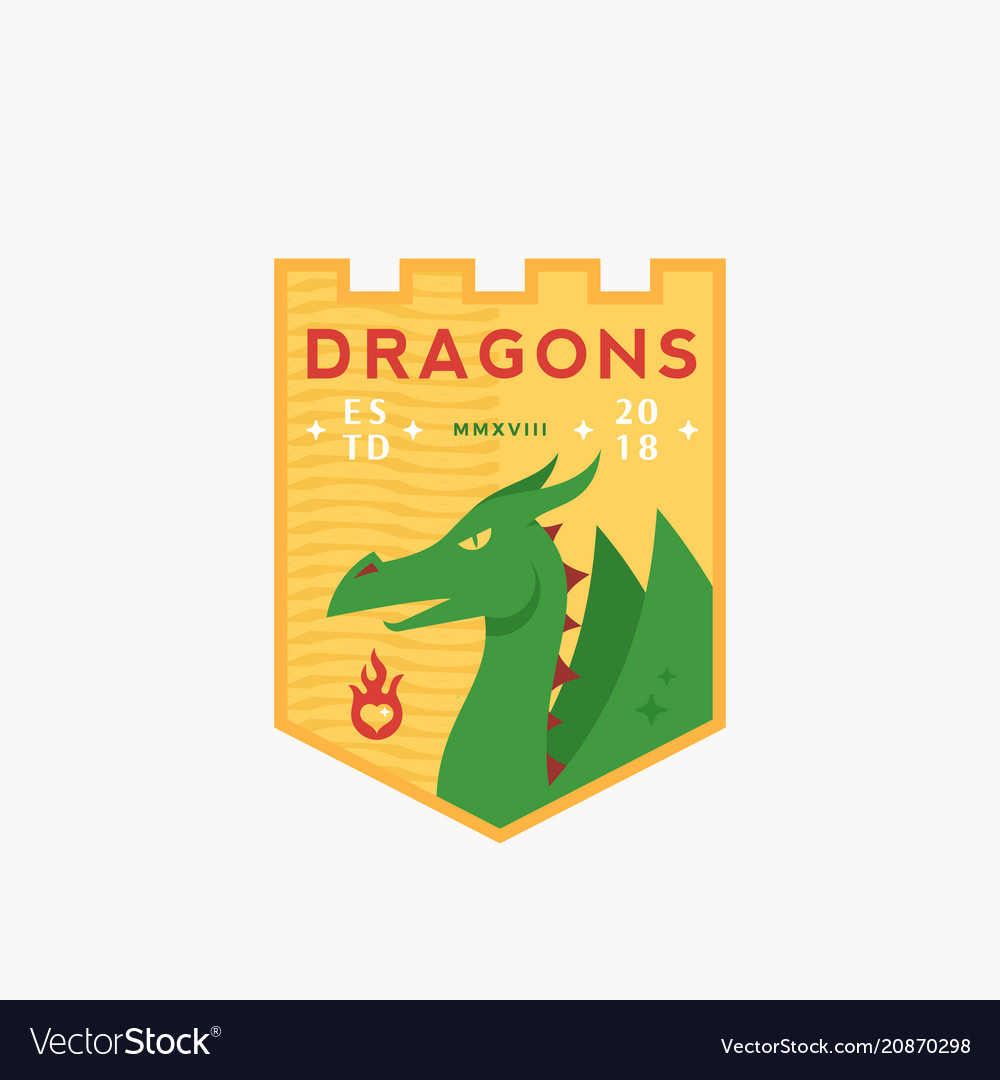 Dragons medeival sports team emblem abstract