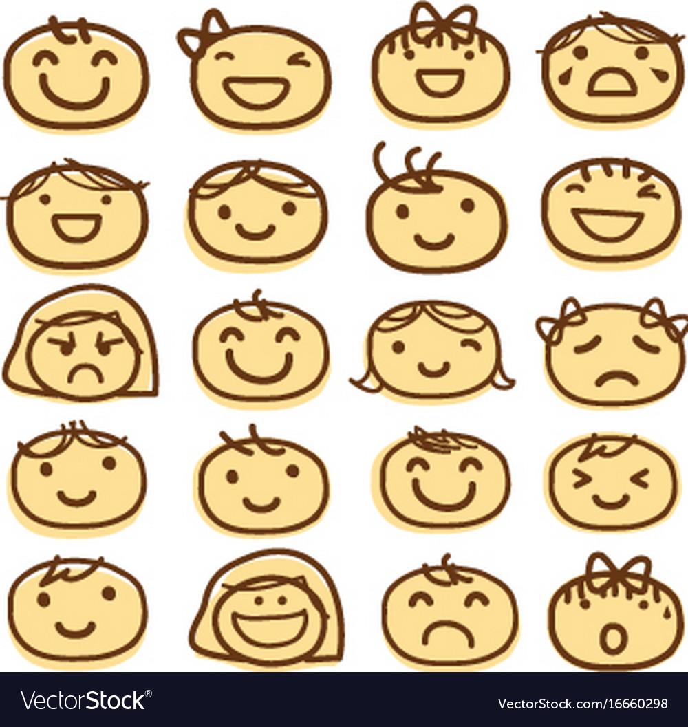 Face Kids Draw Emotion Feeling Icon Cute Cartoon V