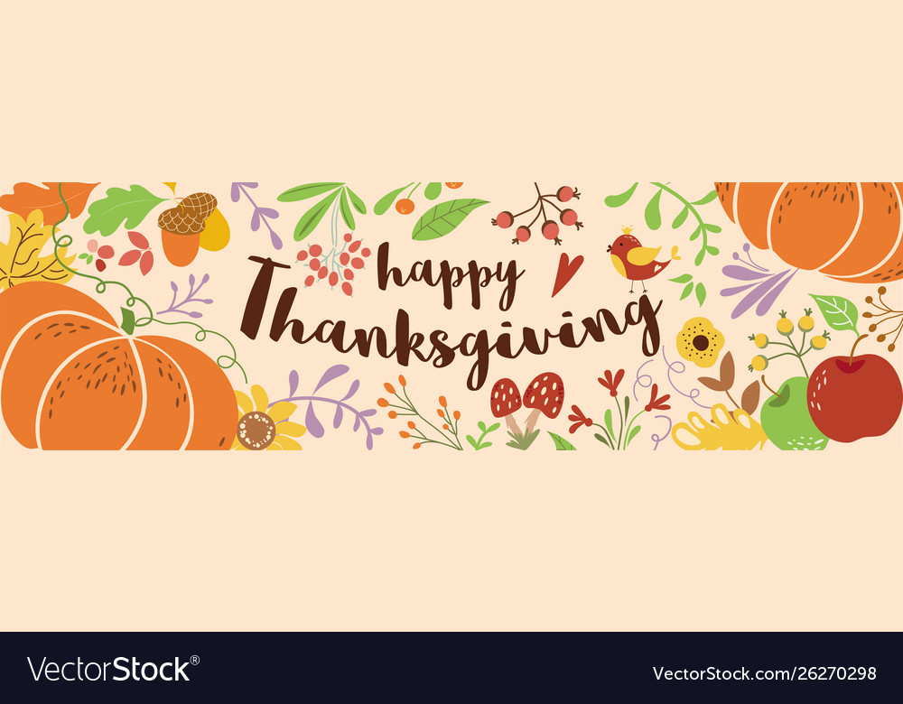 Happy thanksgiving text decorated cute beautiful