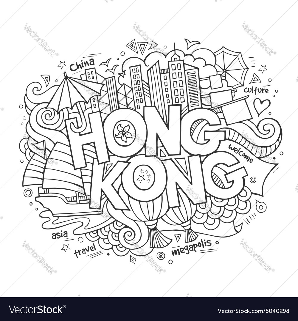 Hong Kong hand lettering and doodles elements
