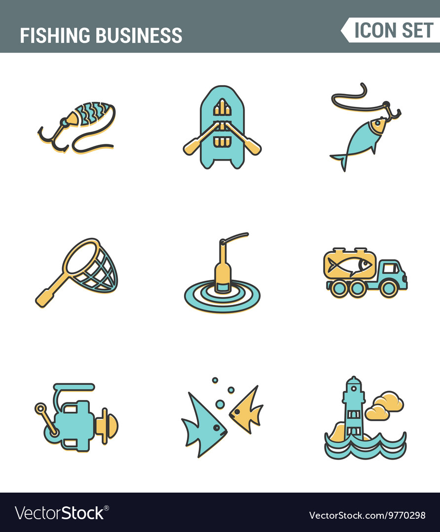 Icons line set premium quality of fishing business