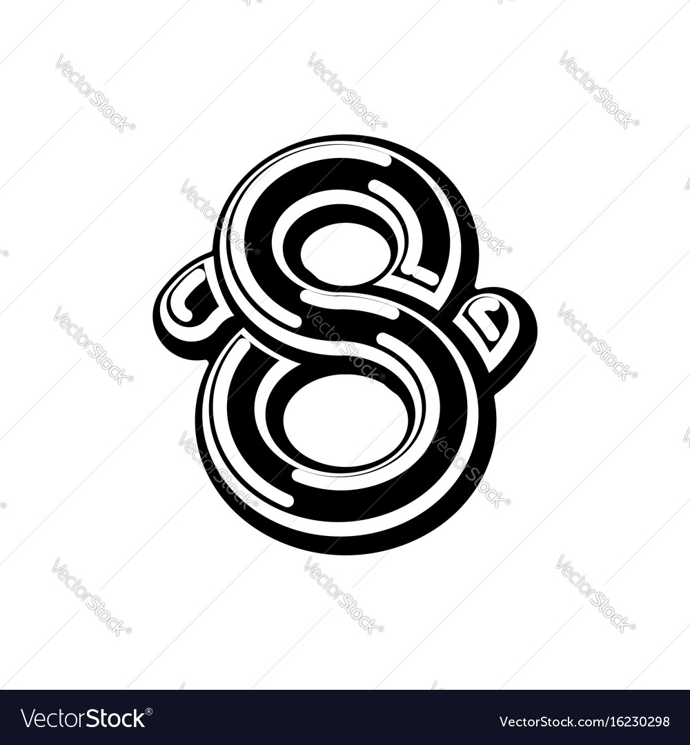 Number 8 celtic font norse medieval ornament abc vector image