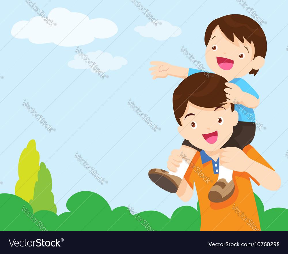 Son Sit On Dad Shoulder Look Sky Royalty Free Vector Image
