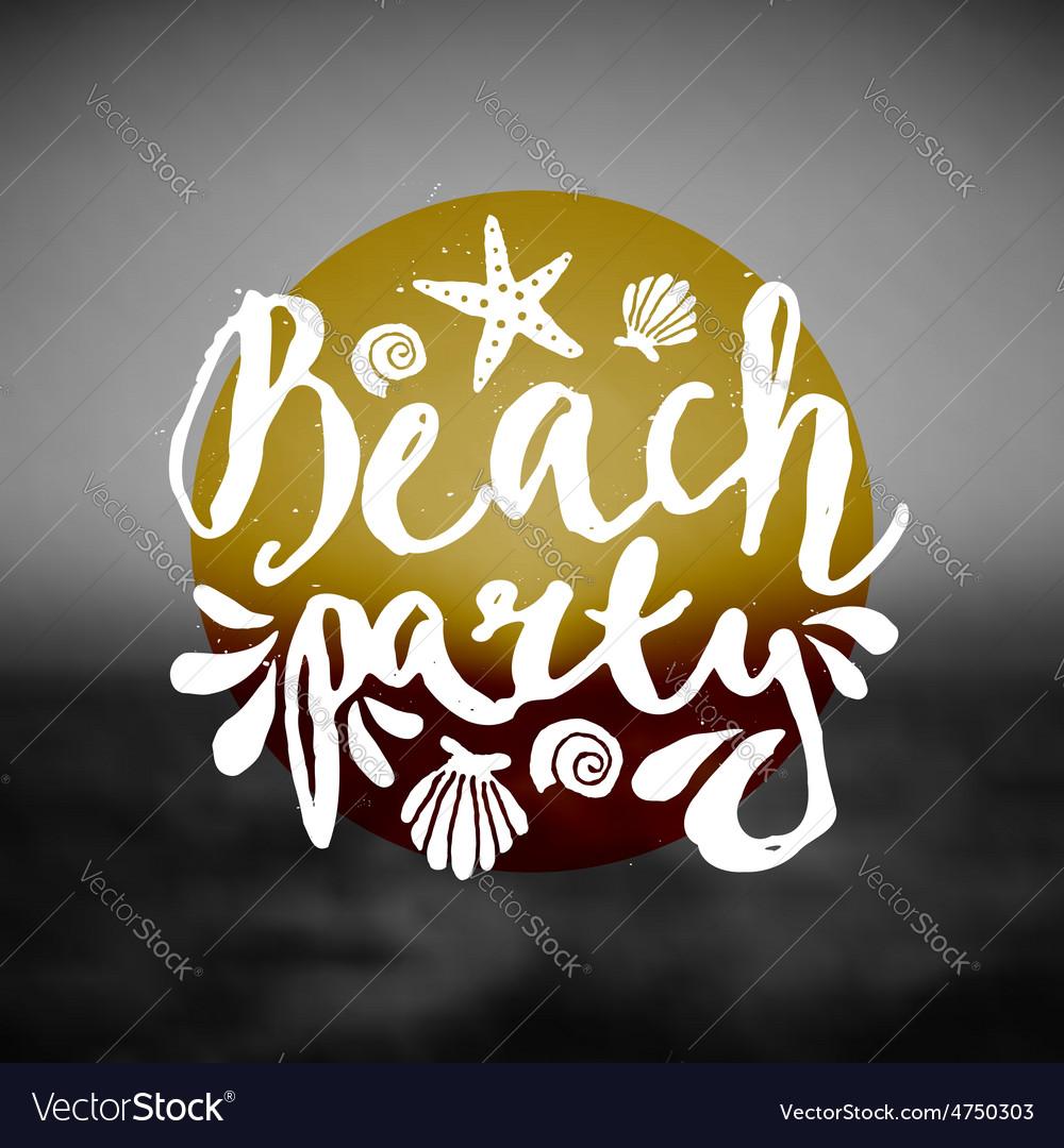 Beach party ocean sunset hand drawn text flyer