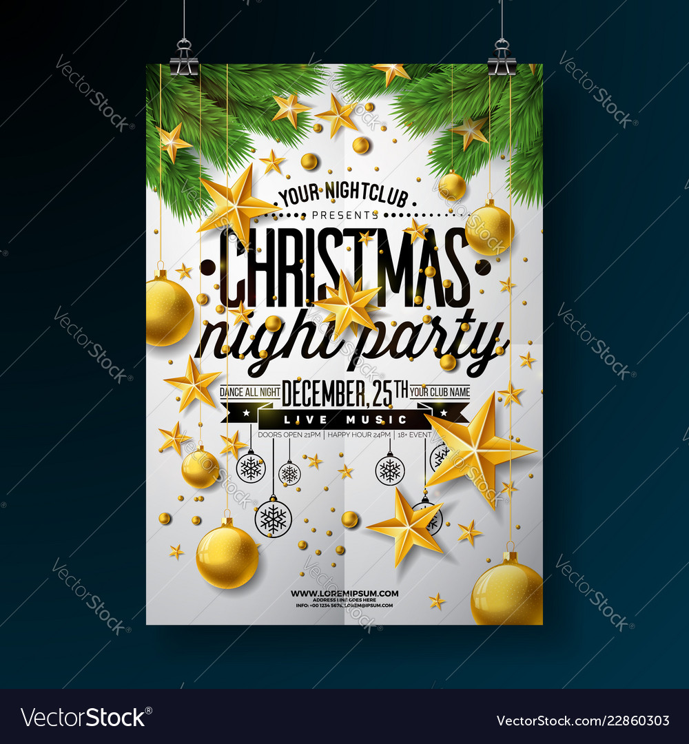 Christmas party flyer with gold star
