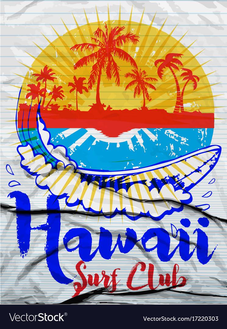 Hawaii surf t-shirt graphics typography