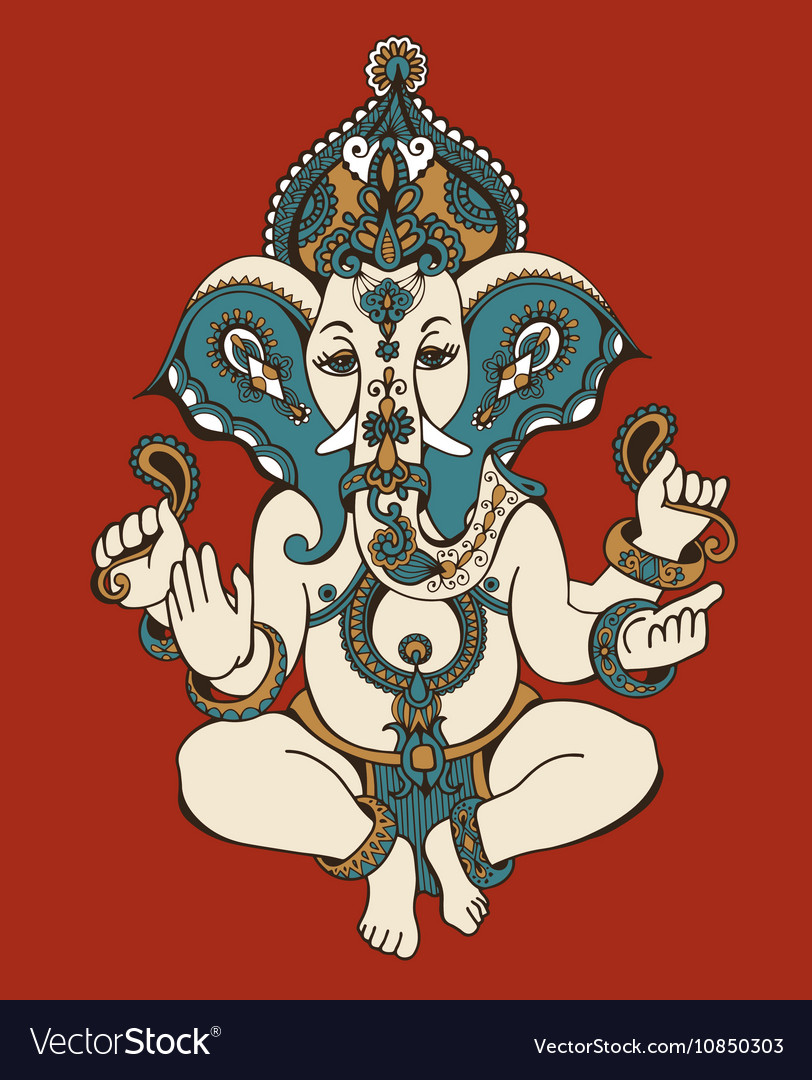 Hindu lord ganesha ornate sketch drawing tattoo vector image