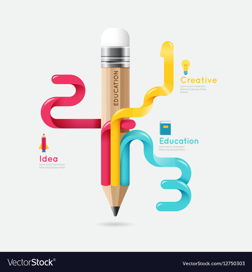 Pencil colorful science and education line concept vector image
