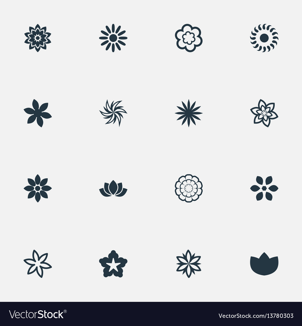 Set of simple blossom icons