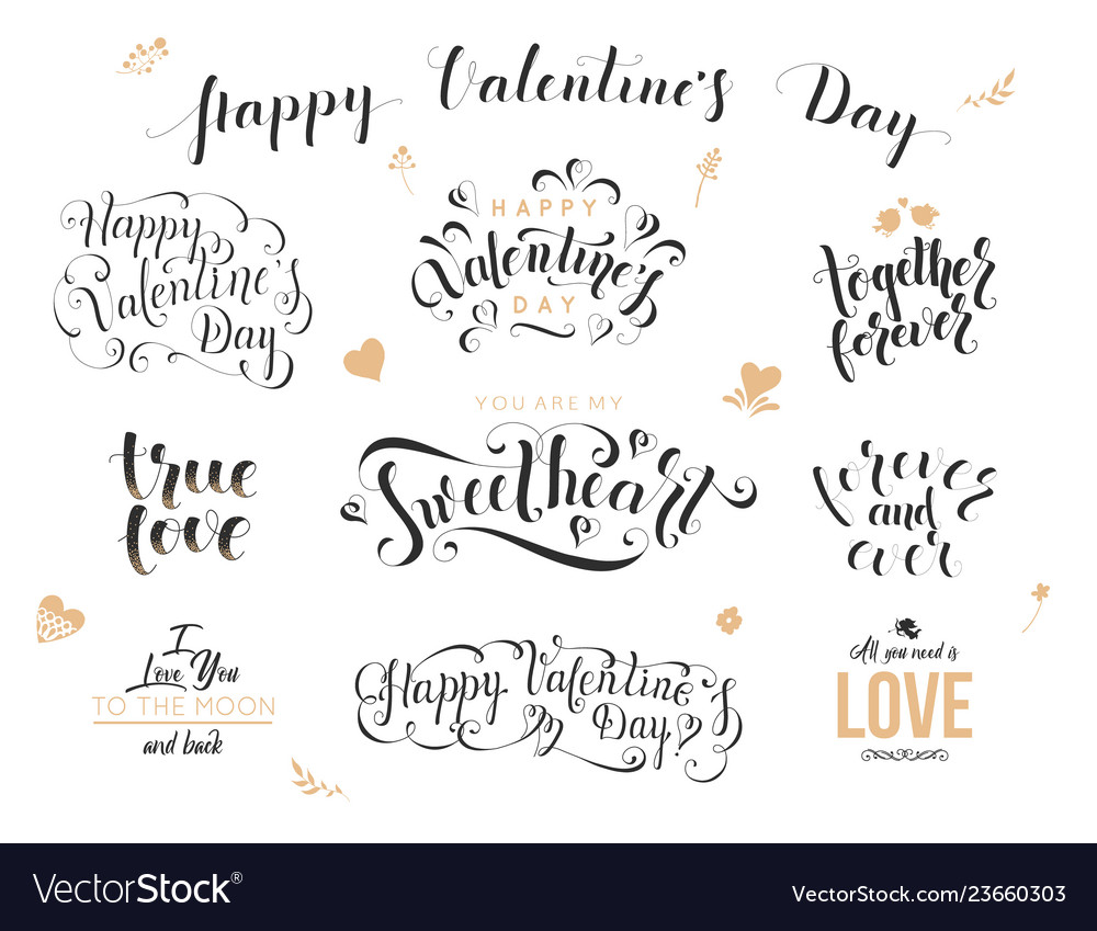 Valentine day hand drawn calligraphy love