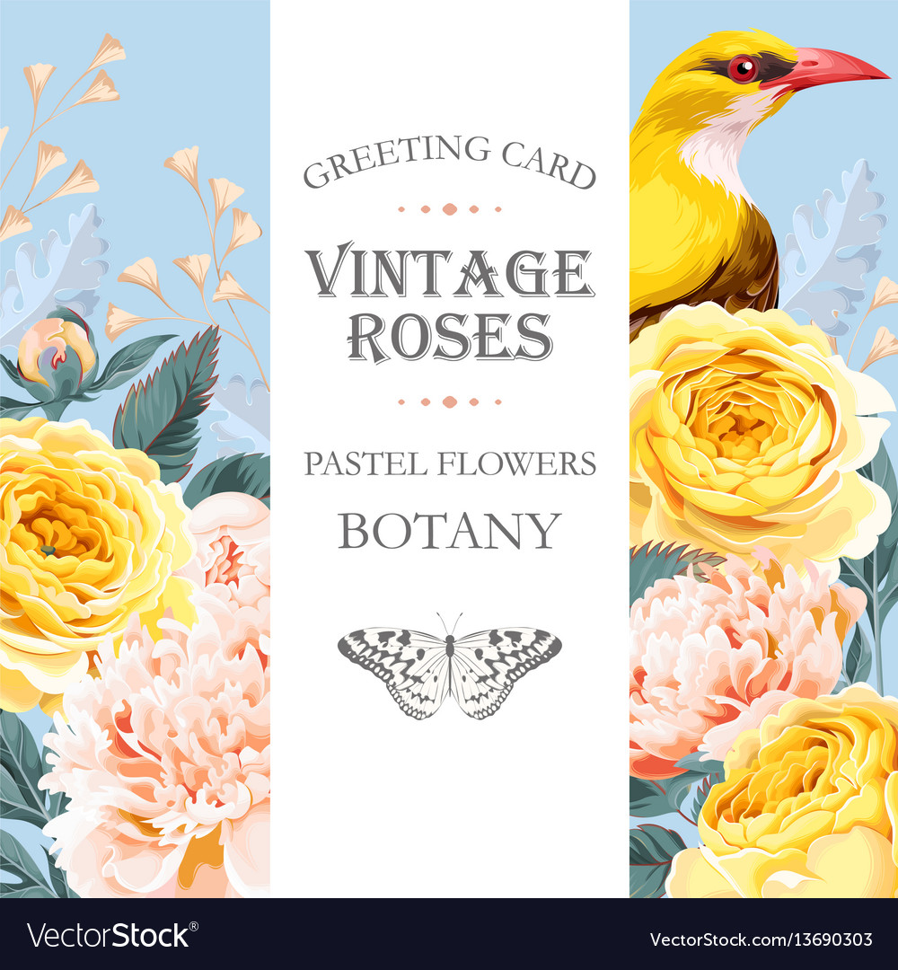 Vintage card with roses and bird