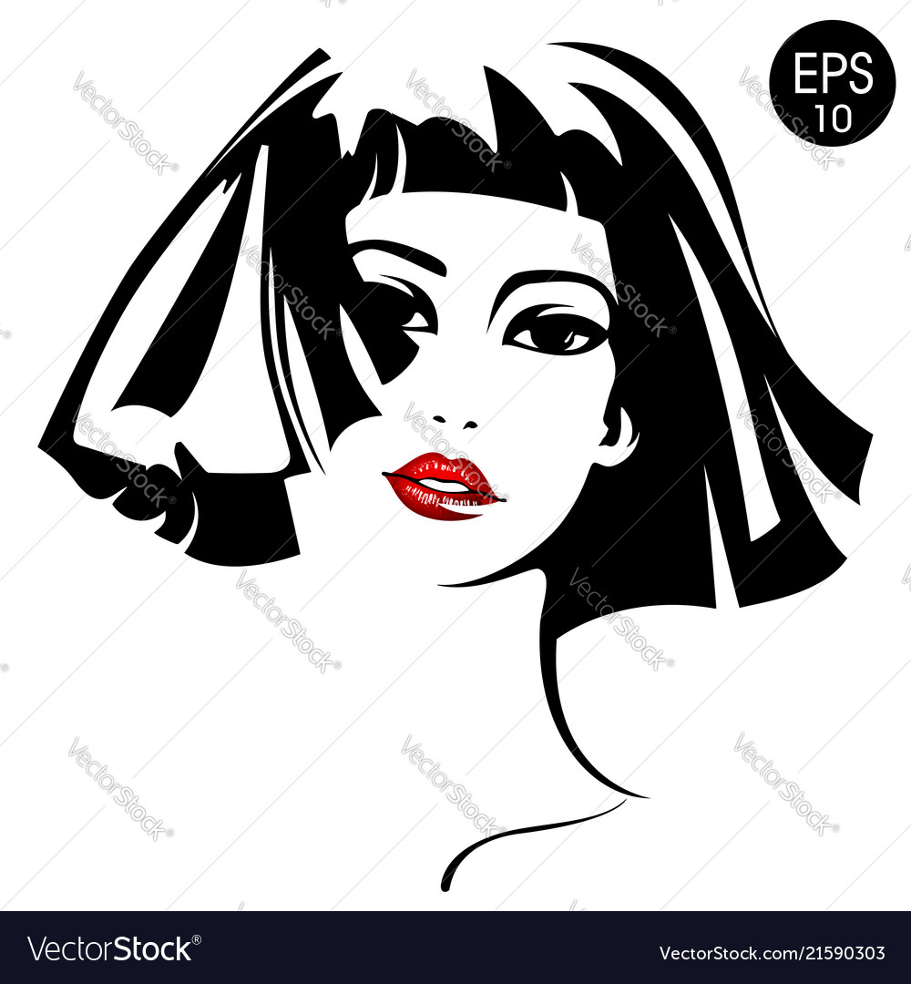Woman with red lips fashion portrait