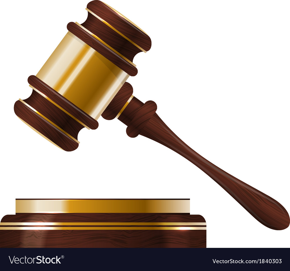 Wooden judges gavel vector image
