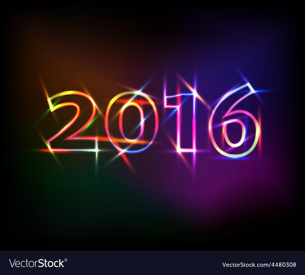 2016 neon lights effect vector image