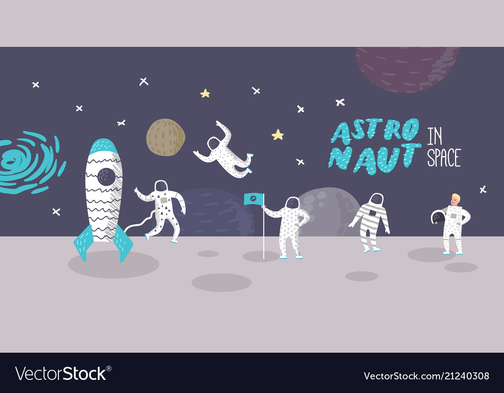Astronaut characters poster with stars and rocket