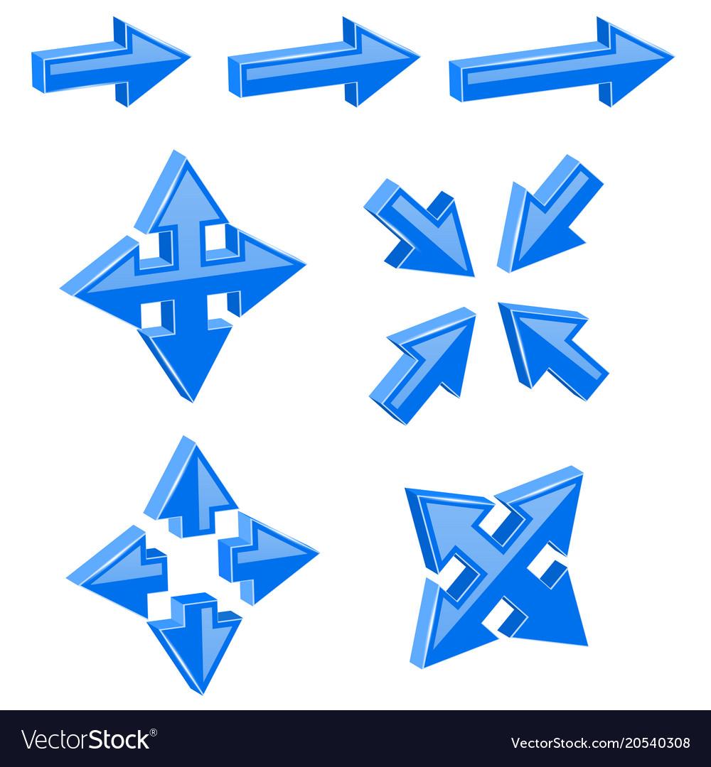 Blue 3d combo arrows different directions