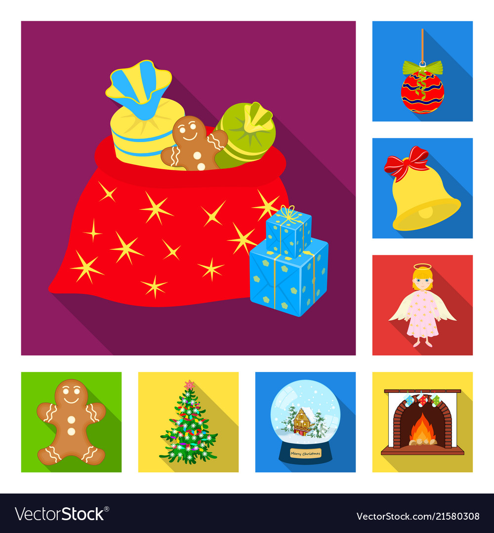 Christmas attributes and accessories flat icons in