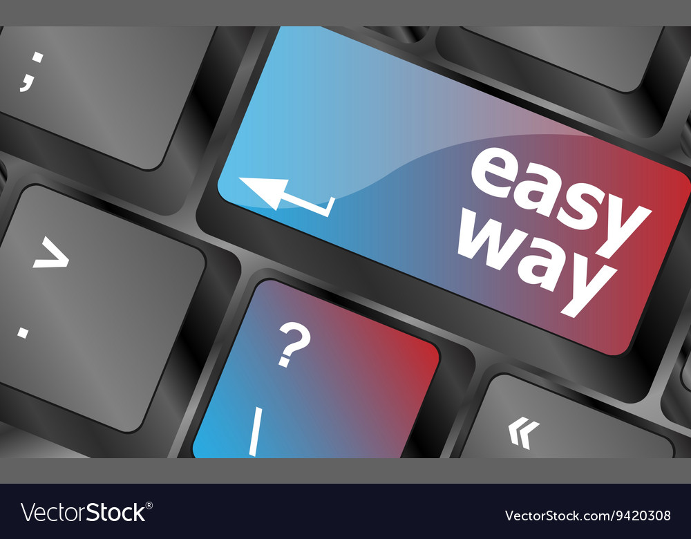 Easy way green button on the keyboard close-up vector image