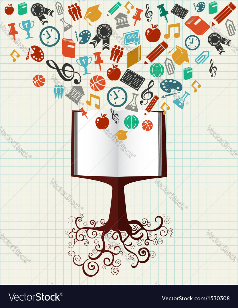Education colorful icons book tree