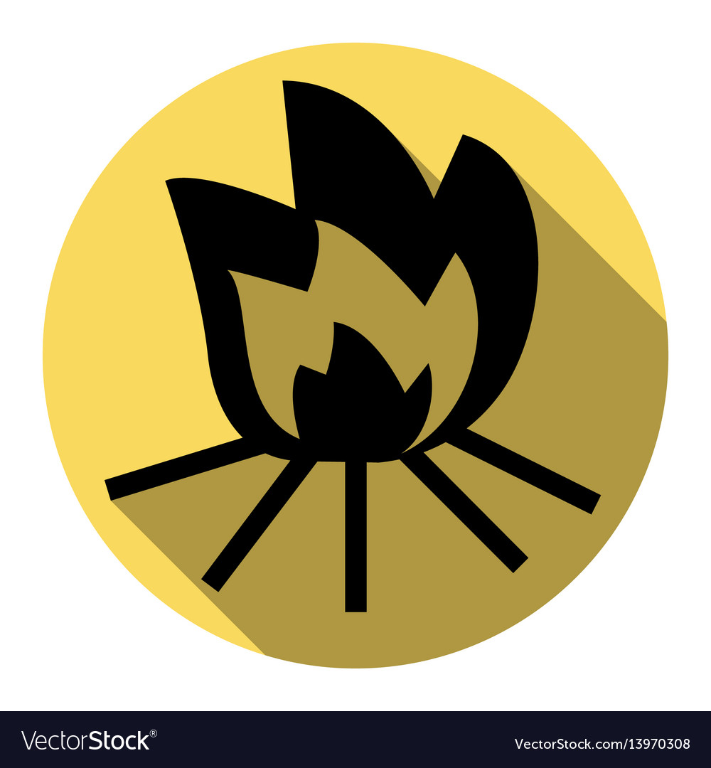 Fire sign flat black icon with flat vector image
