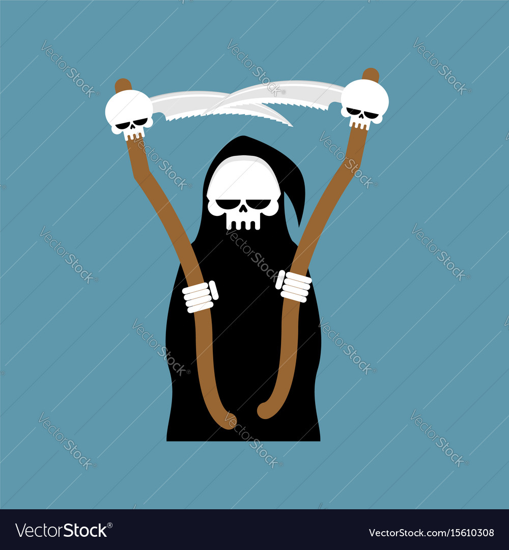 Grim reaper with scythe isolated death in hood on