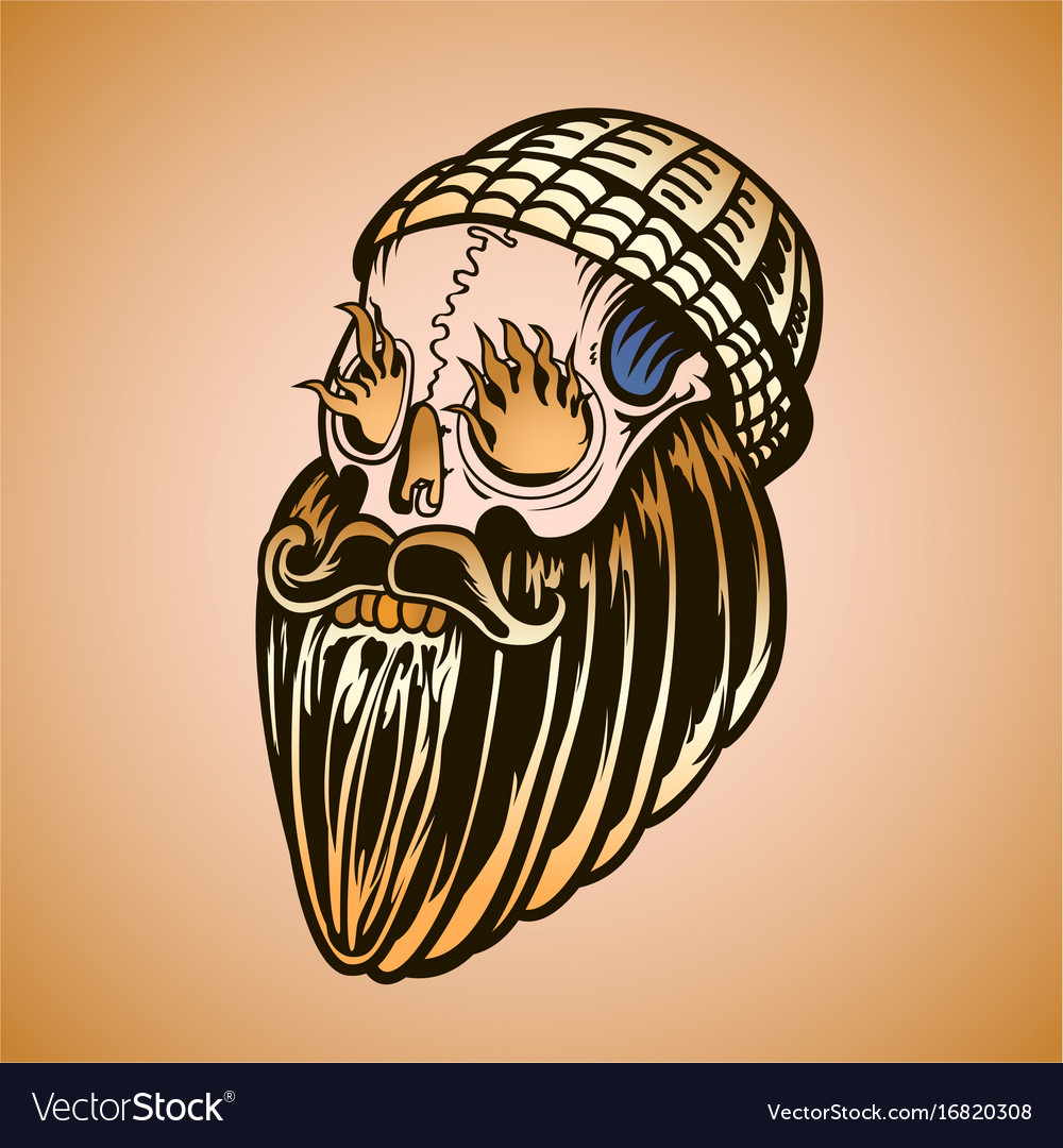 Hipster skull with beard and burning eyes