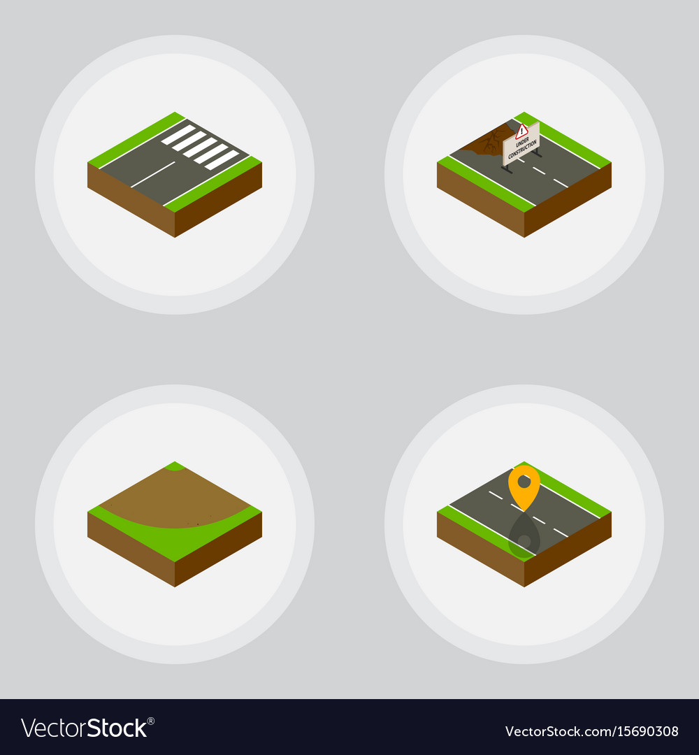 Isometric way set of footer navigation turn and