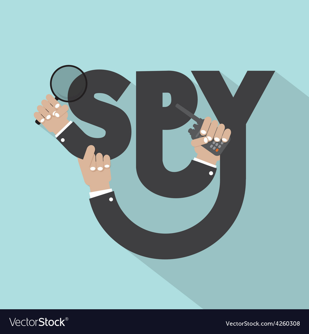 Magnifying Glass In Hand With Spy Typography vector image
