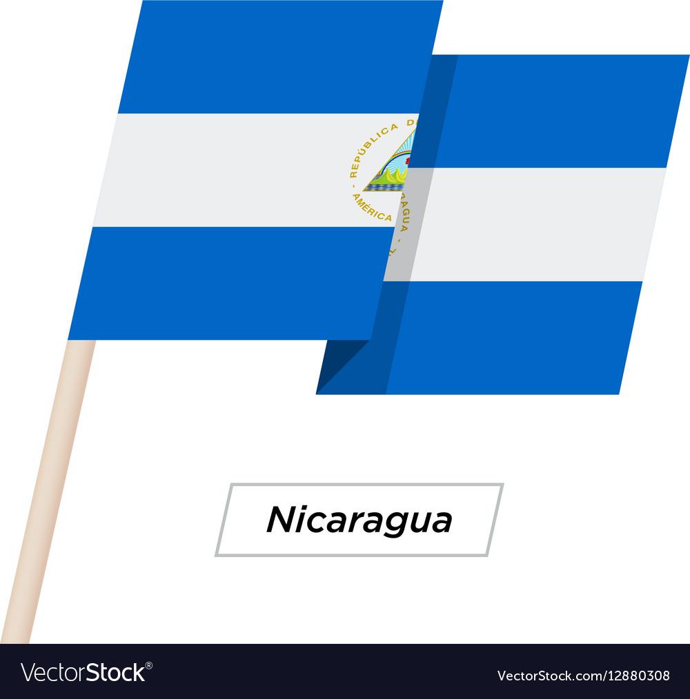 Nicaragua Ribbon Waving Flag Isolated on White vector image