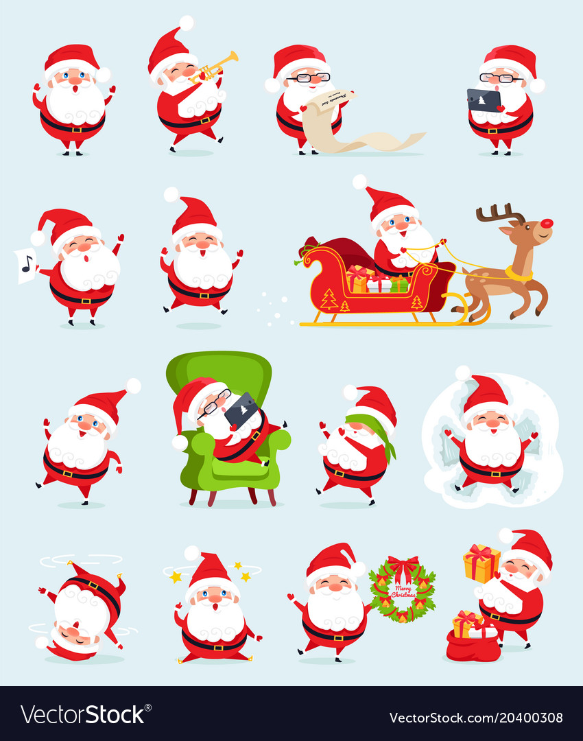 Santa claus icons collection vector image