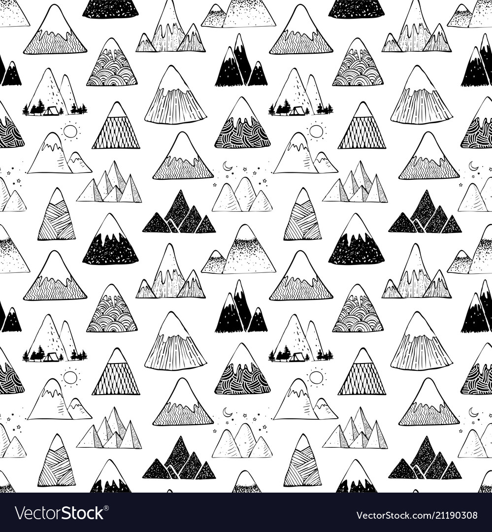 Seamless background with doodle sketch mountains