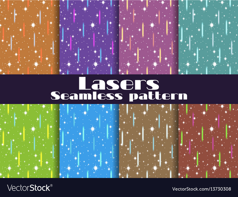 Seamless patterns with laser beams background vector image