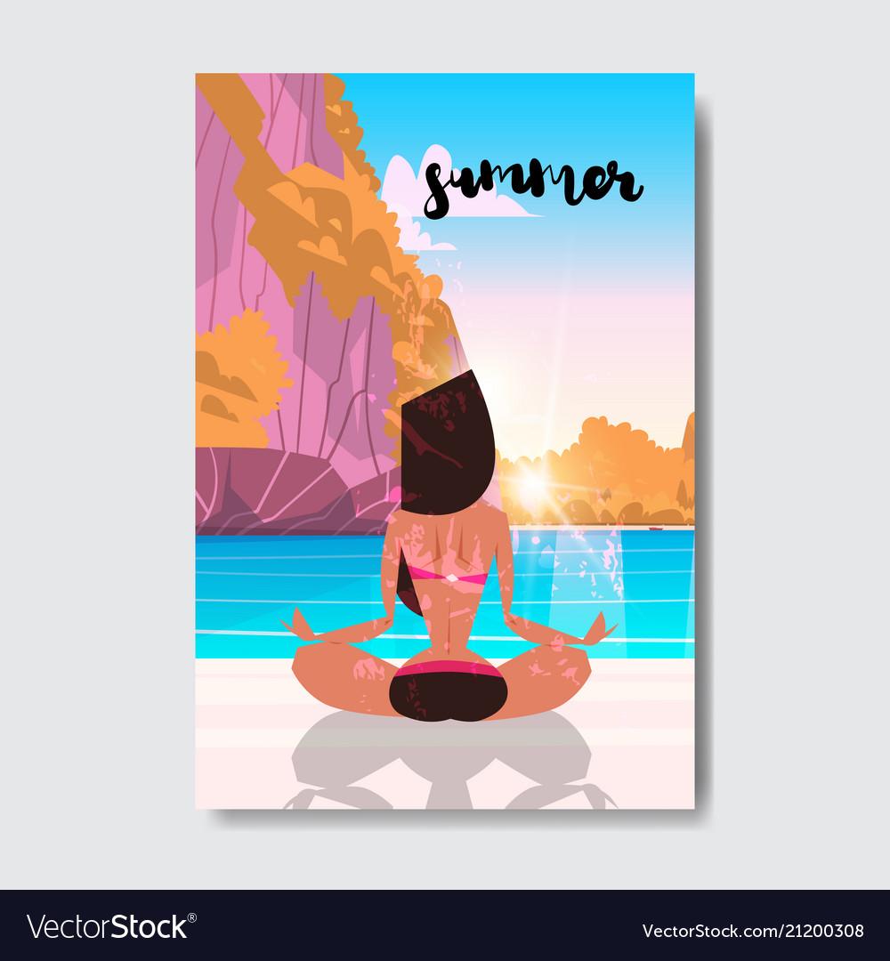 Sunset yoga woman doing exercises mountain
