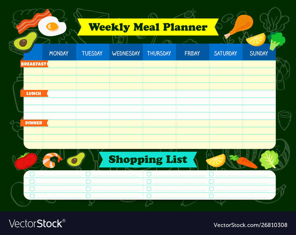 Weekly meal planner with foods a meal timetable