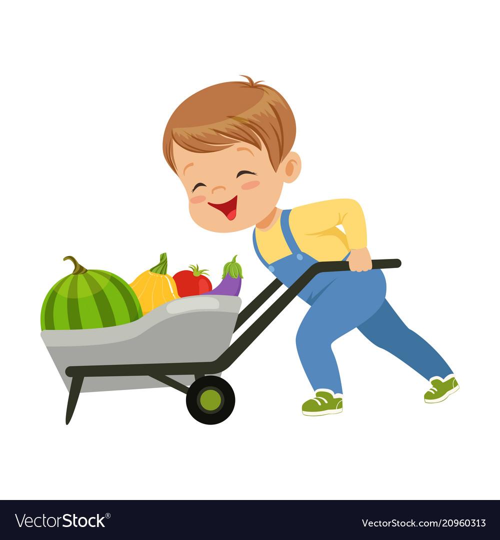 Cute little boy character pushing wheelbarrow full