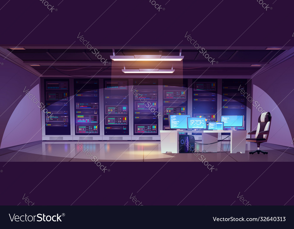 Data center room with server racks and computer