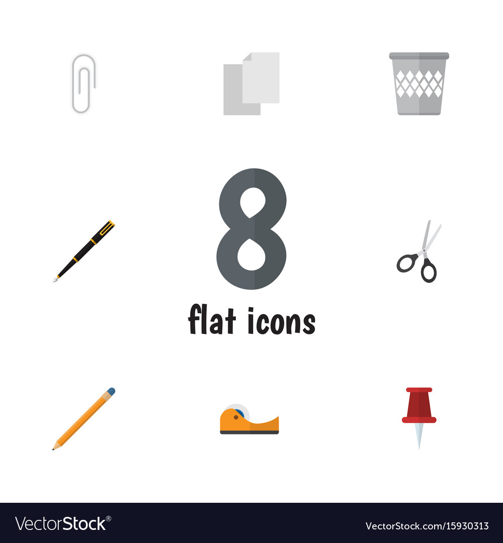 Flat icon equipment set of fastener page clippers