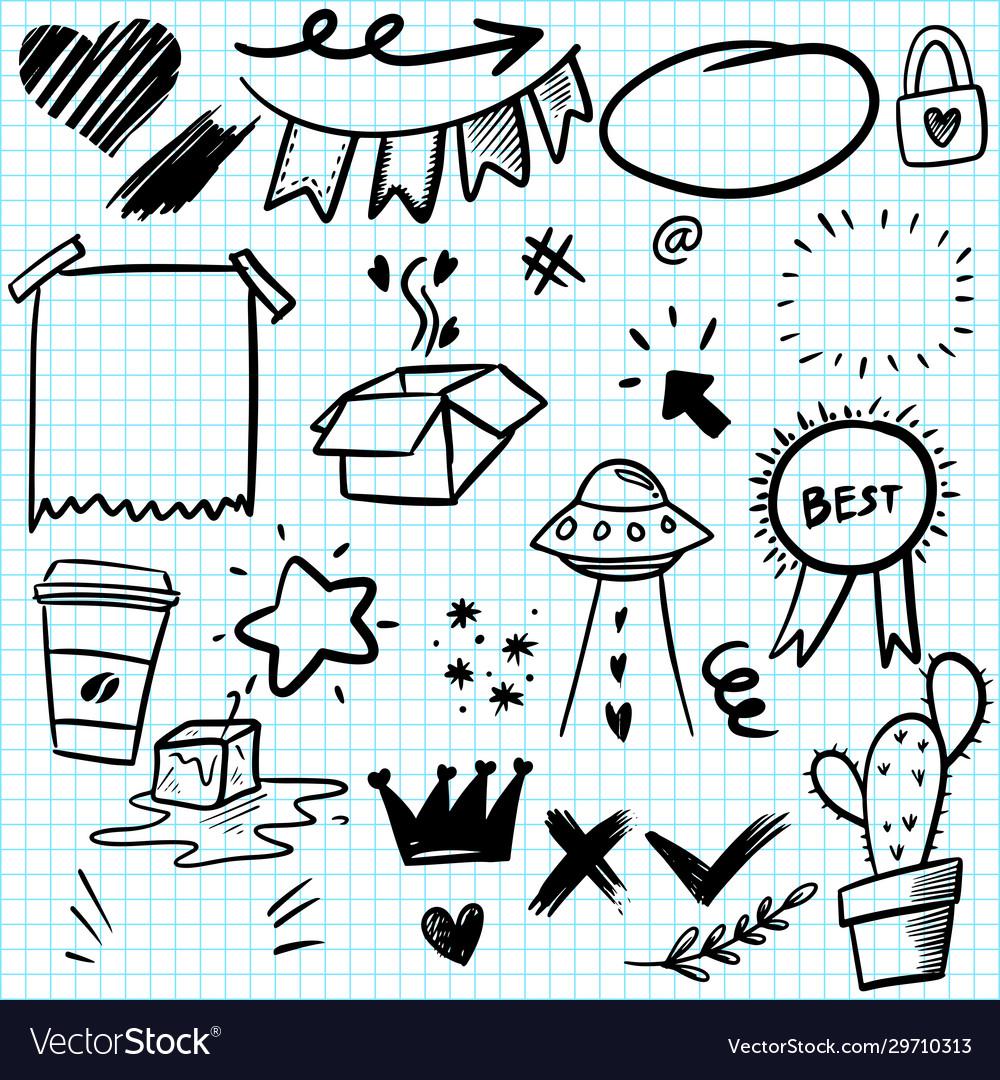 Hand drawn set elements for concept design
