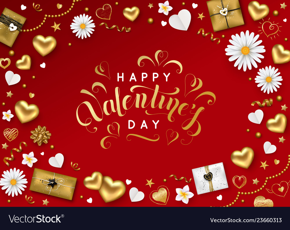 Happy valentines day background with lettering