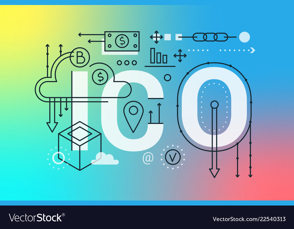 Ico word trendy composition concept banner