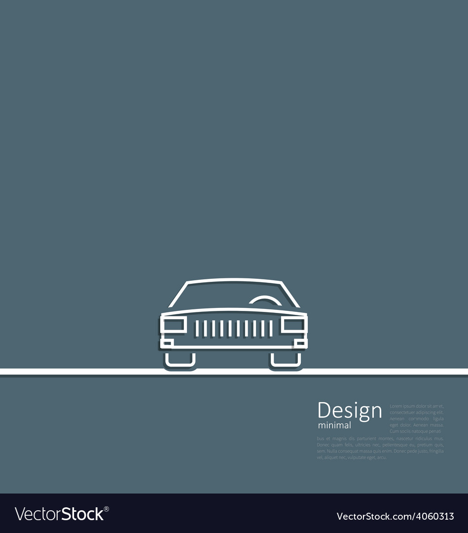 Logo of car front side in minimal flat composition vector image
