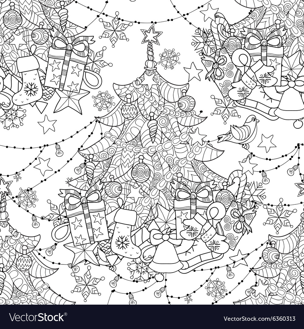 Merry Christmas zentangle fir tree gifts doodle Vector Image