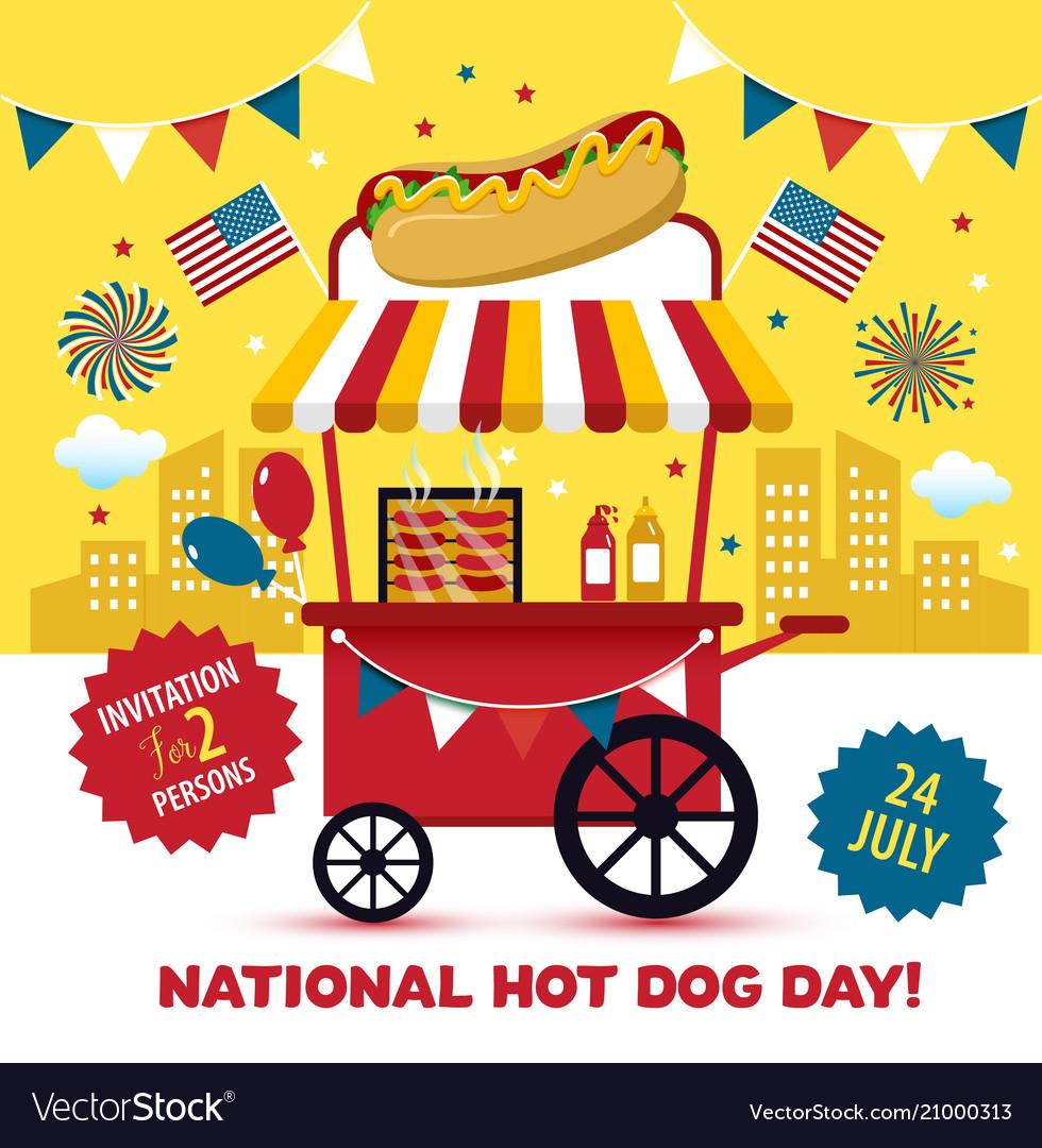 National Hot Dog Day Hot Dog Vector Image