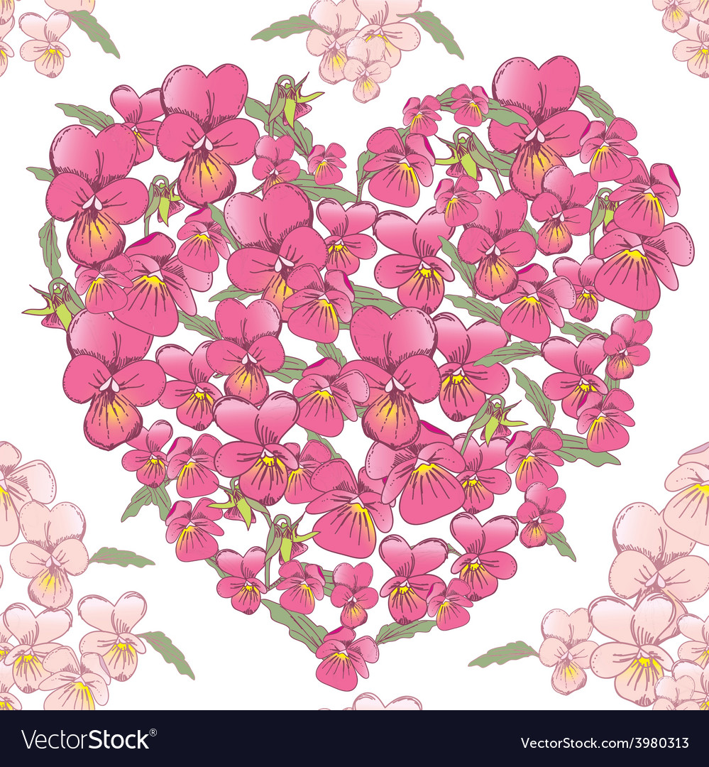 Pink heart of pansies on a white background