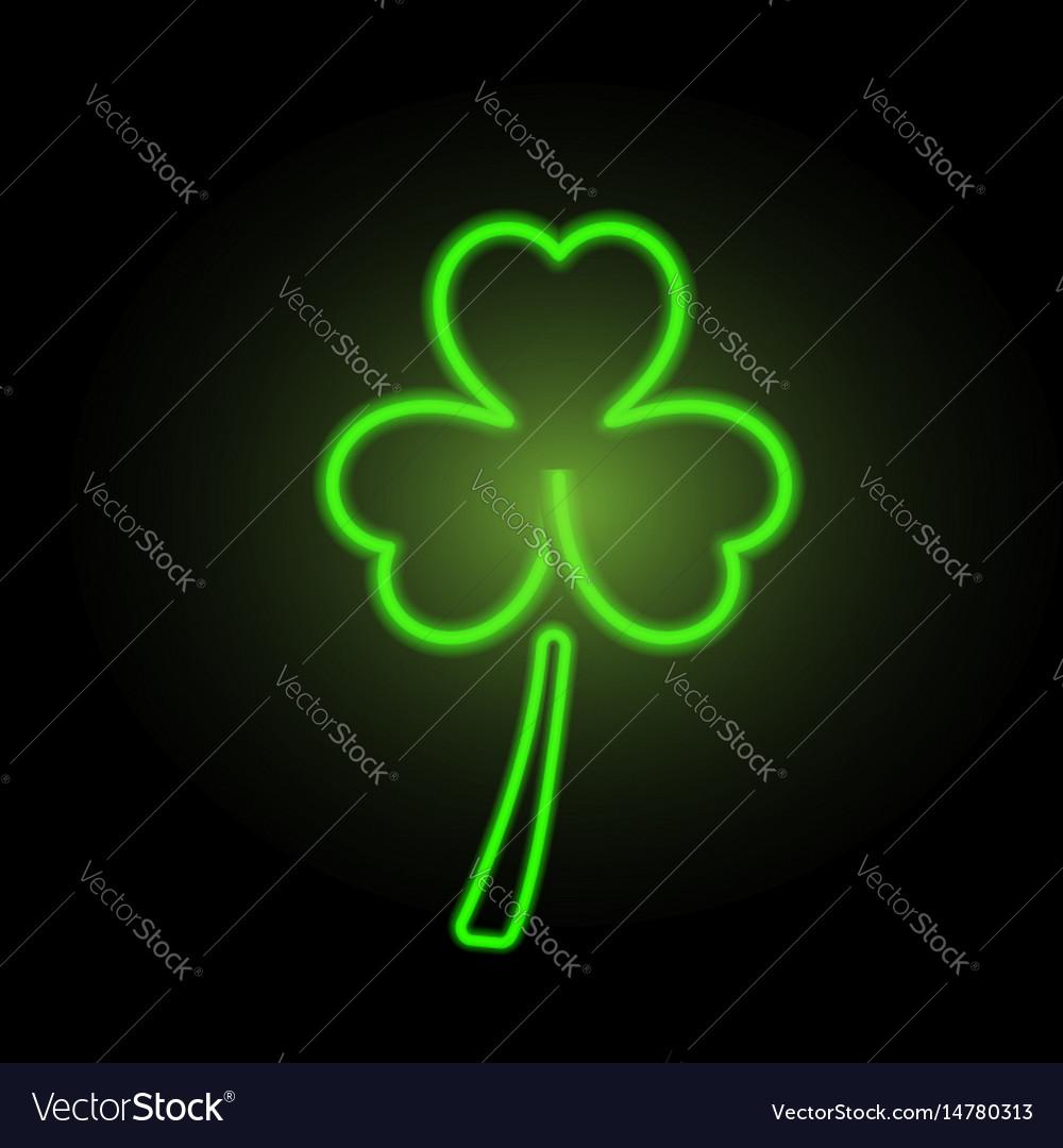 St patricks day clover neon lights vector image