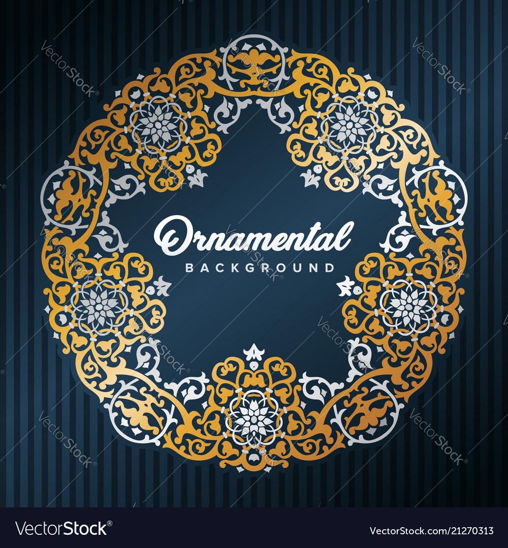 Star arabic frame islamic design framed by golden