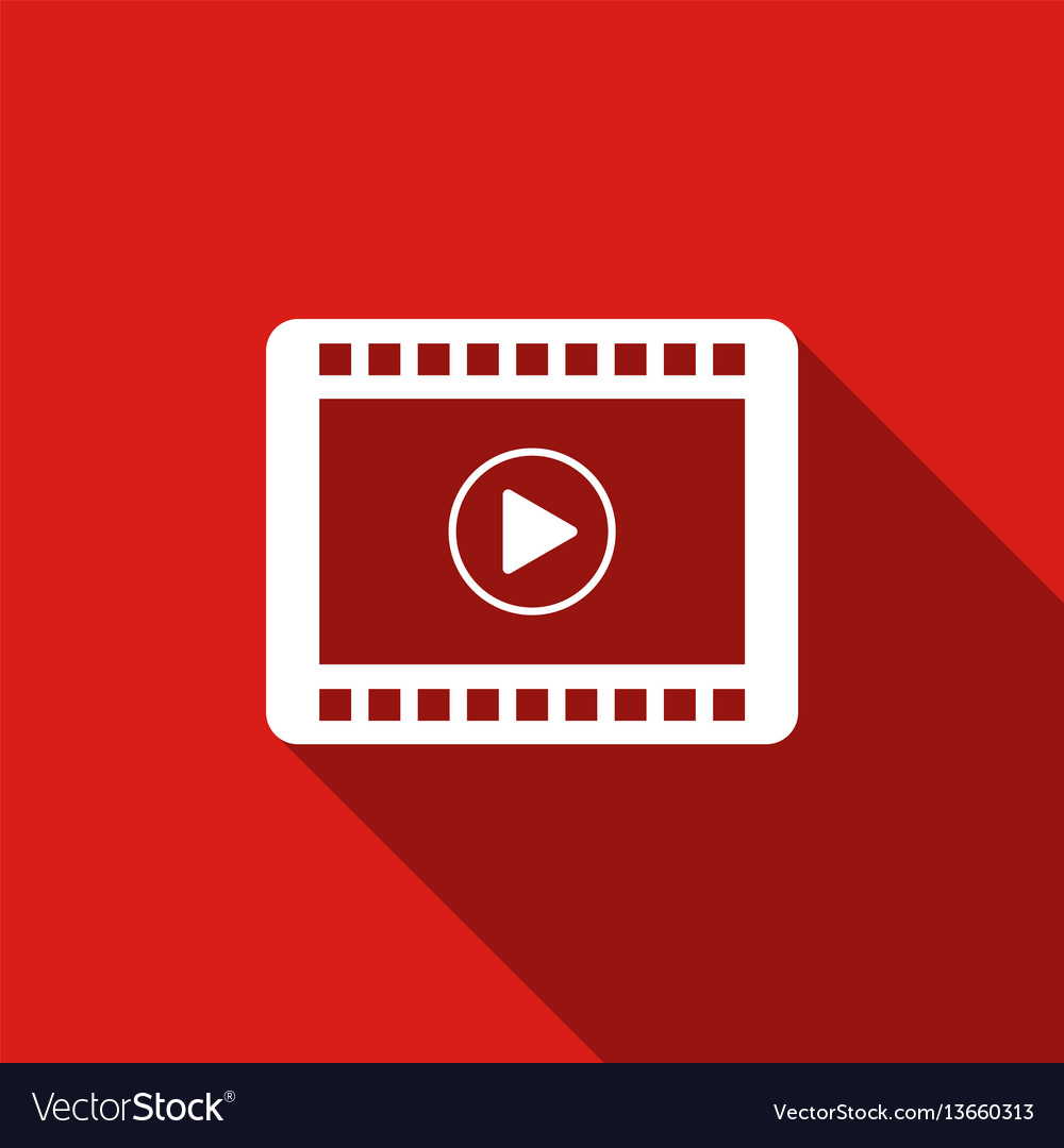 Video flat icon with long shadow