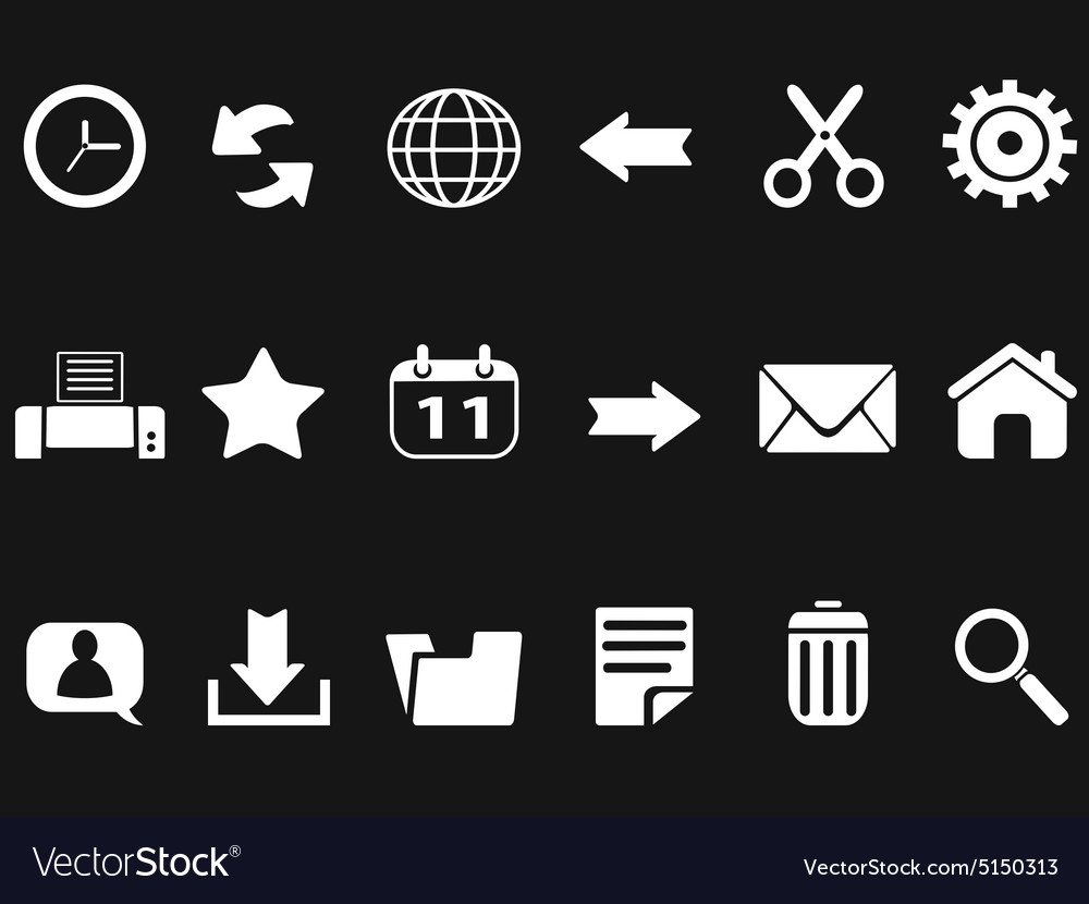 Web toolbar icons on black background vector image