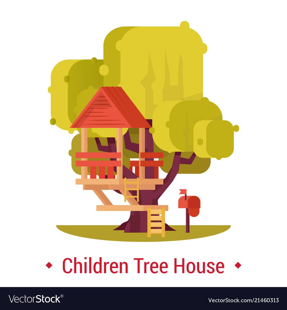 Wooden hut on tree for children activity